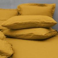 Funda de almohada de lino  curry de 50x70