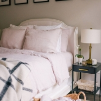 Funda almohada lino 65x65 rosa