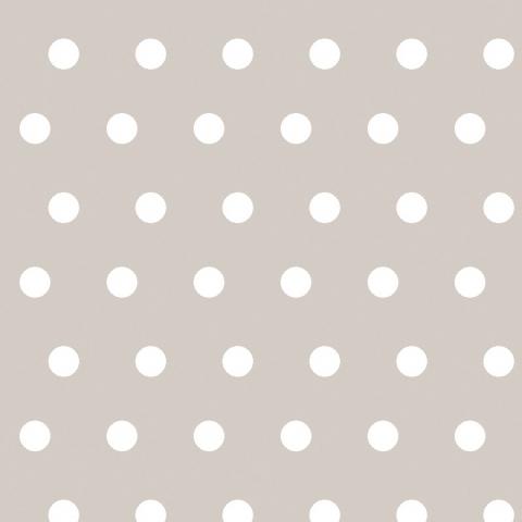 Tela semi-plastificada liso beige con lunares blancos