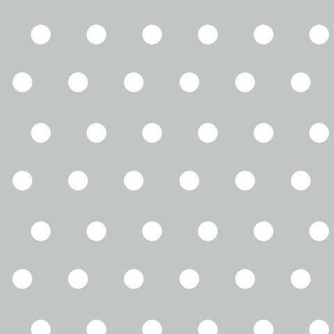 Tela semi-plastificada liso gris con lunares blancos