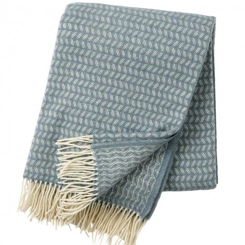 Manta lana merino Leaf Azul verdoso