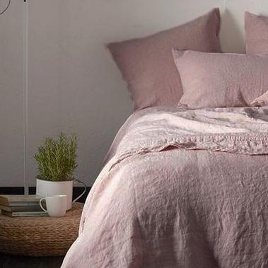 Funda nórdica de lino rosa 140x200