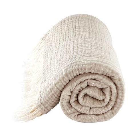 Manta beige reversible de algodón orgánico