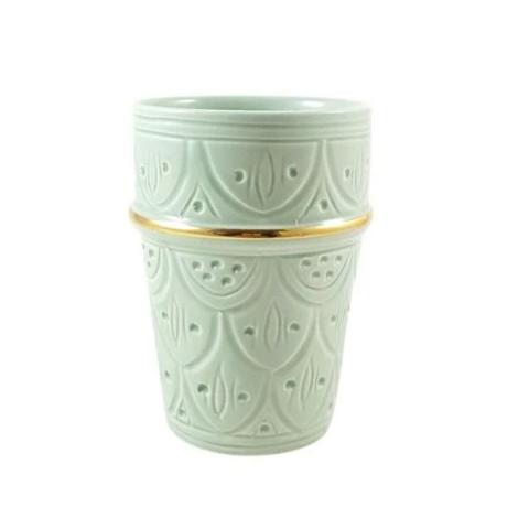 Taza beldi verde con vela olor jazmin