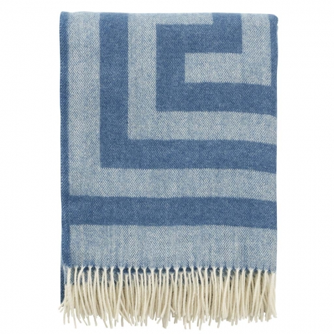 Manta lana Merino Memphis blue