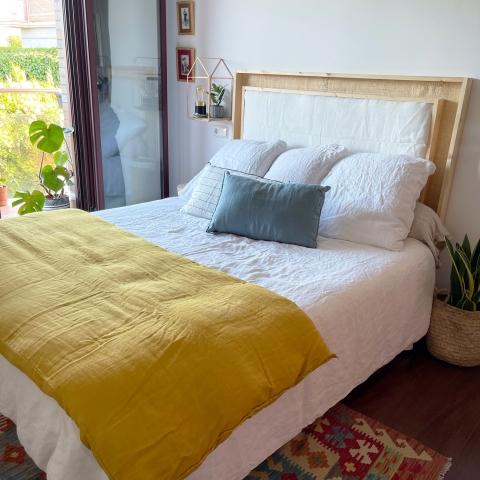 Pie de cama lino safran