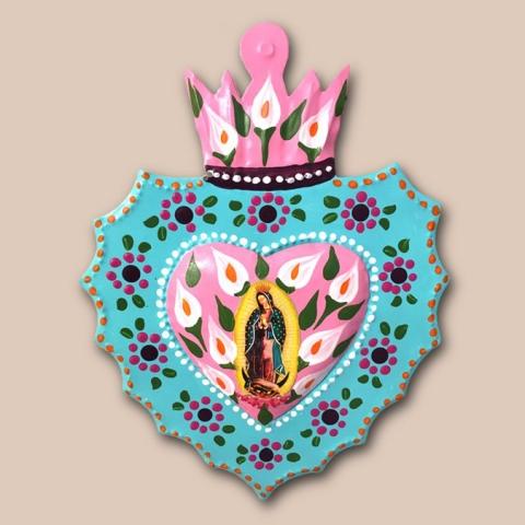 Corazón florido Virgen de Guadalupe